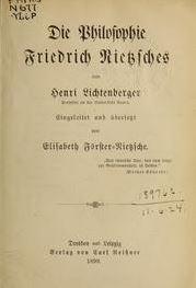 Die Philosophie Friedrich Nietzsches 1899