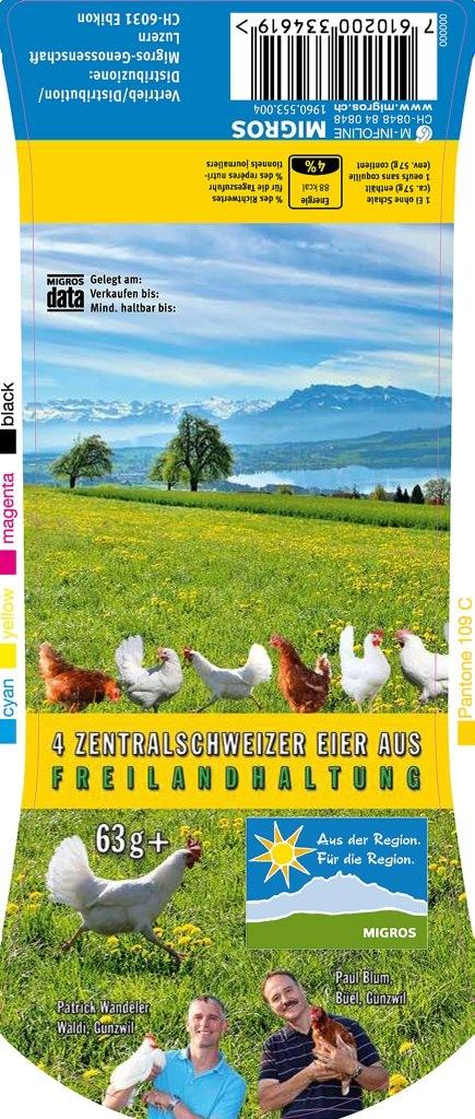 Fotos & Gestaltung:  Neue Eierschachtel 6-er Geflügelhof Blum + Waldihof-Ei Gunzwil/LU