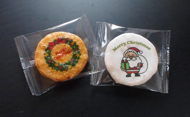 クリスマスイラスト入りおせんべい