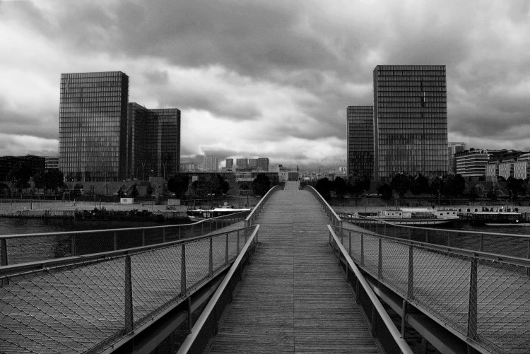 Bibliothèque Nationale de France Site François-Mitterrand, by Dominique Perrault, seen from the Passerelle Simone-de-Beauvoir, by Dietmar Feichtinger. Paris, France. (2009)