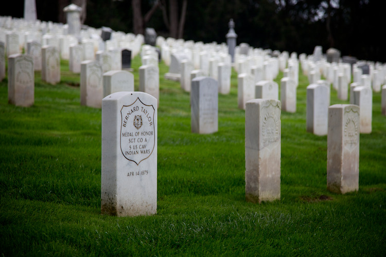 "Bravery, San Francisco National Cemetery, CA, USA. (2013) MoH: ""Bravery in rescuing Lt. King, 5th U.S. Cavalry, from Indians"" (citation)"