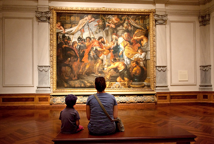 Contemplating a Rubens, Rubens Galleries, Ringling Museum of Art, Sarasota