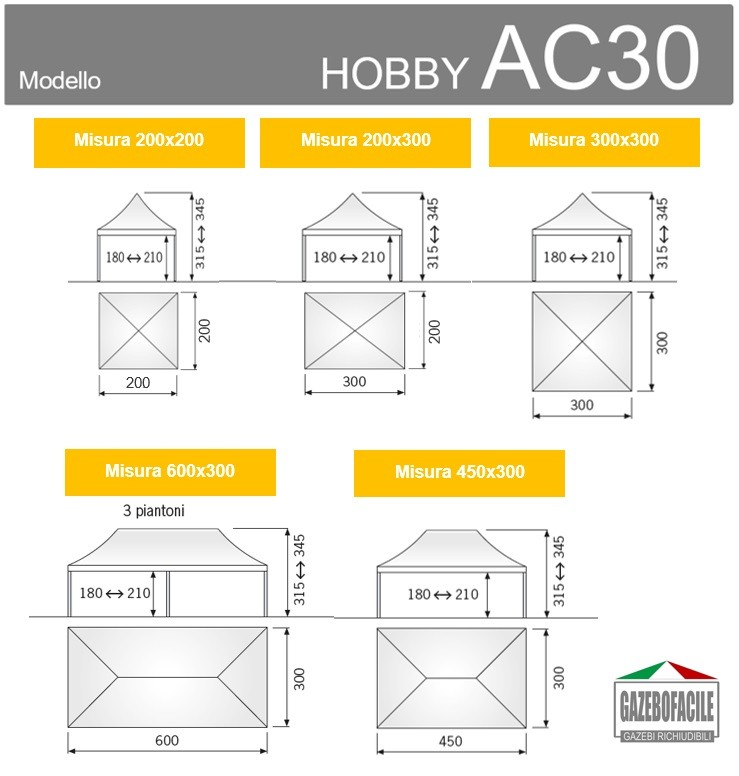 Misure disponibili gazebo apribile HOBBY AC30mm