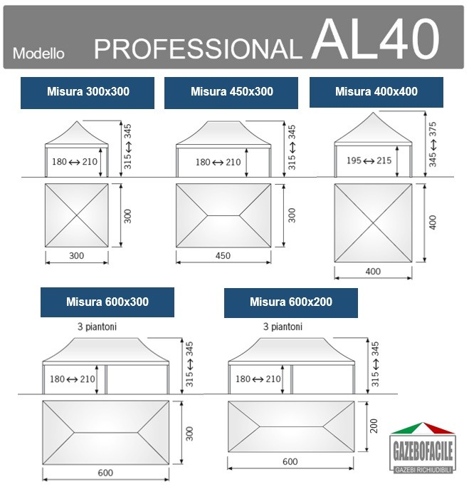 Misure disponibili gazebo apribile PROFESSIONAL AL50mm