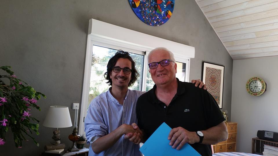Avec Claude Lefrançois, arrière petit-cousin d'Erik Satie