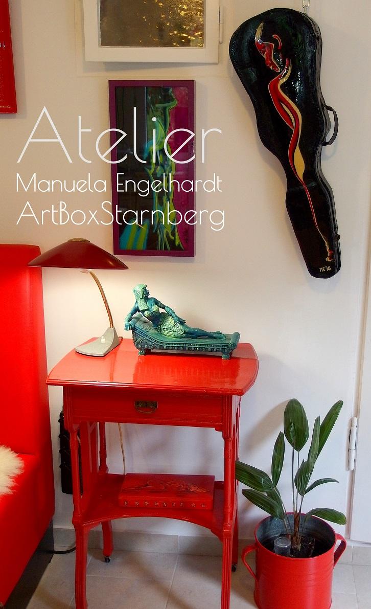 Antiker, handbemalter Geigenkasten aus dem Atelier Manuela Engelhardt - ArtBoxStarnberg - www.ateliermanuelaengelhardt.de