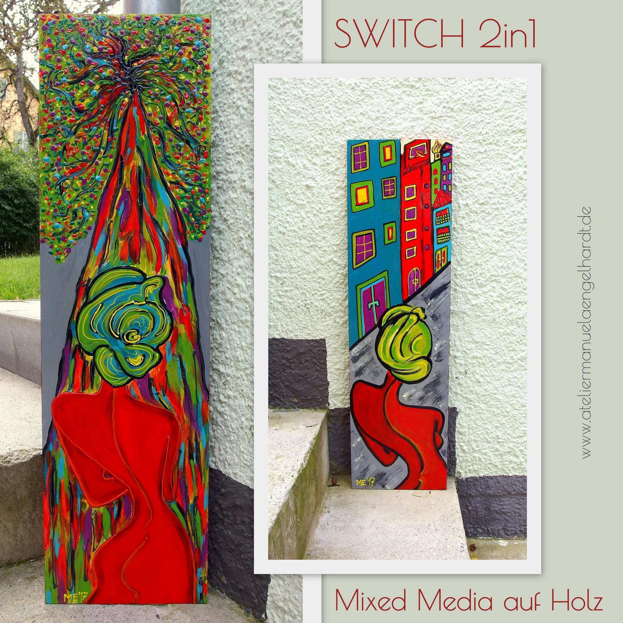 Switchbild, Mixed Media auf Holz