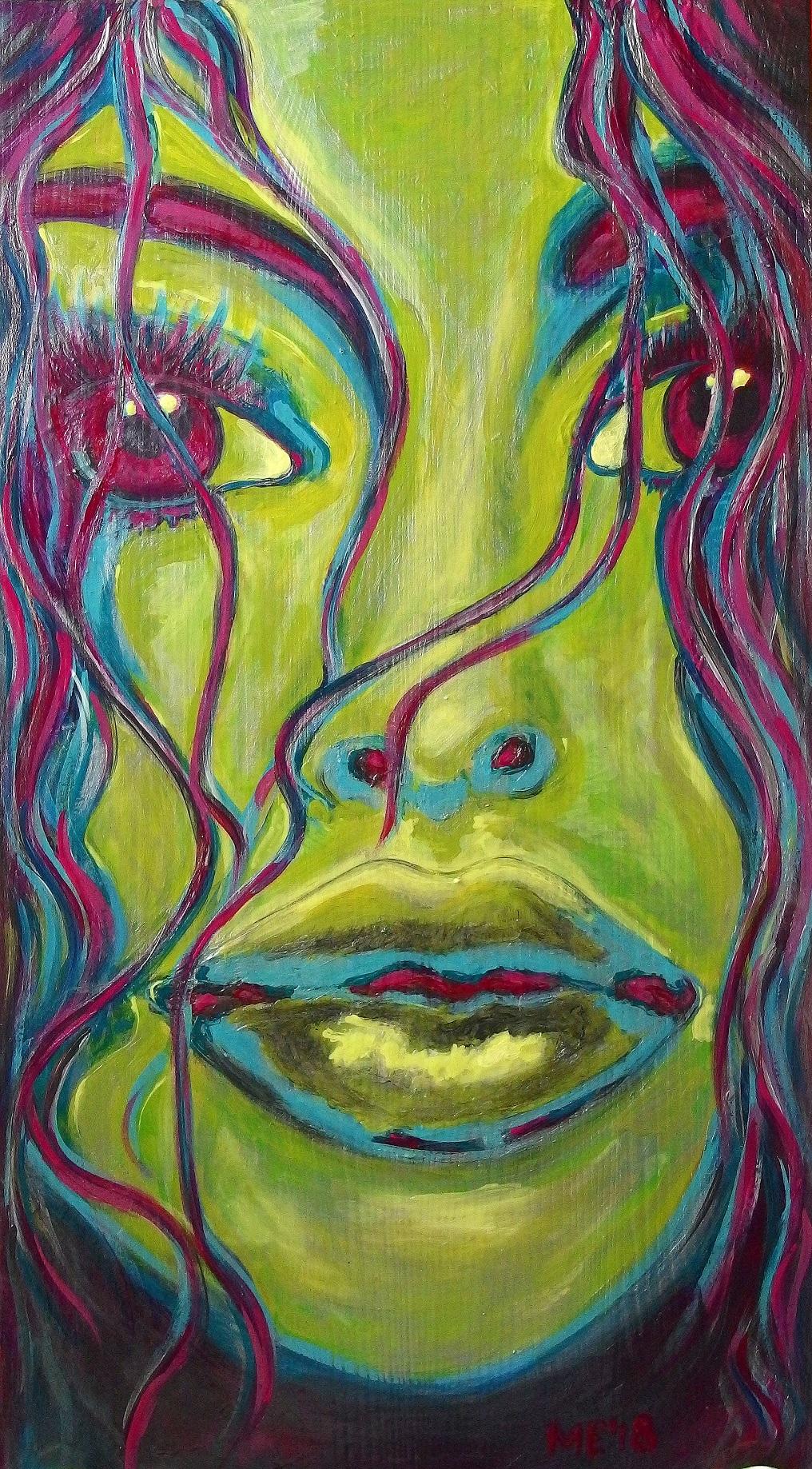"Acryl auf Holz, Titel ""La Cara""."