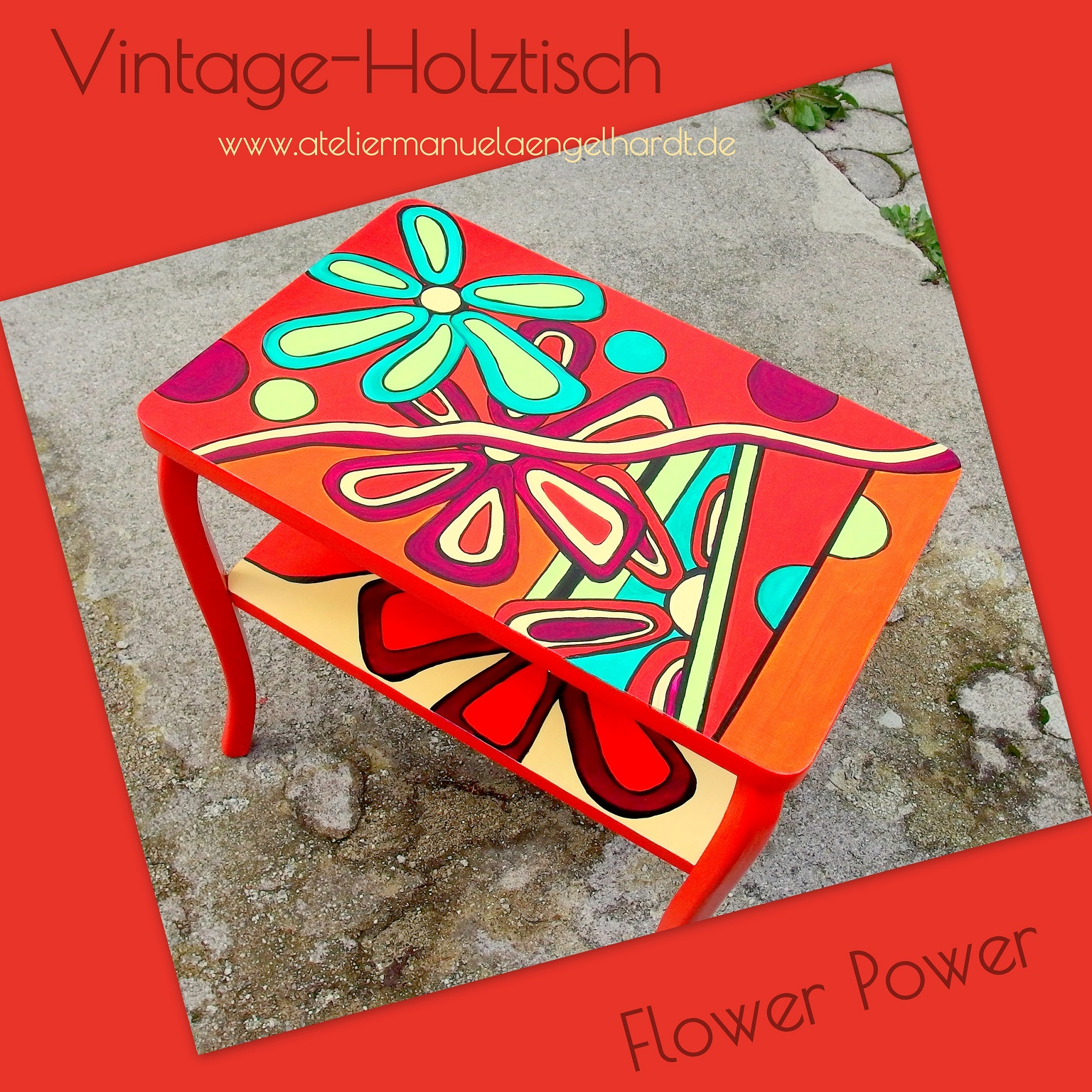 Vintage Holztisch Flower Power