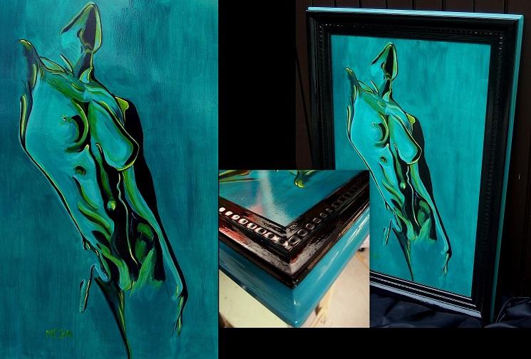 Gemälde in Antikrahmen, Acryl auf Holz