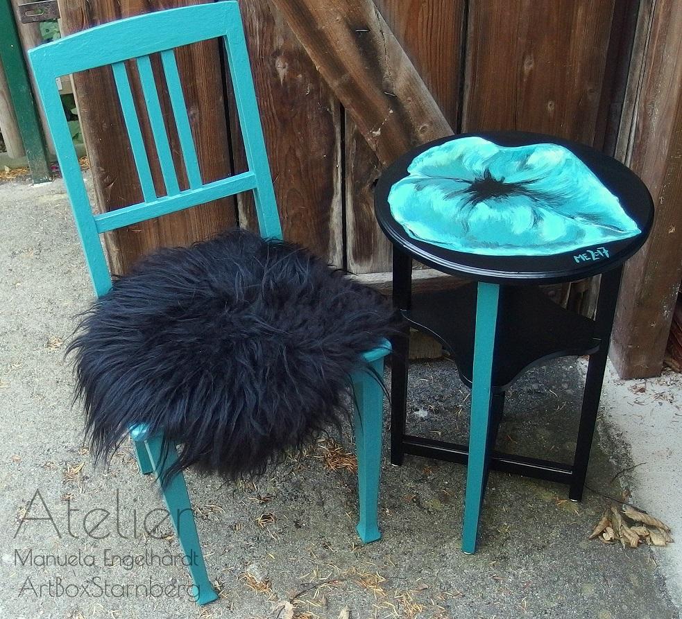Vintage-Tisch, handbemalt - Atelier-Inventar