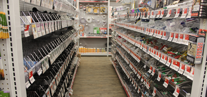 Hardware store shelving