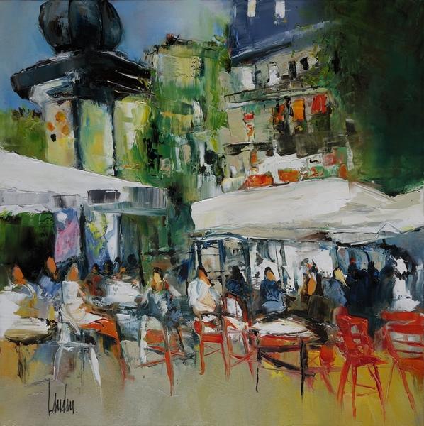 """""""Sur le boulevard """" - 50x50 - vendue"""