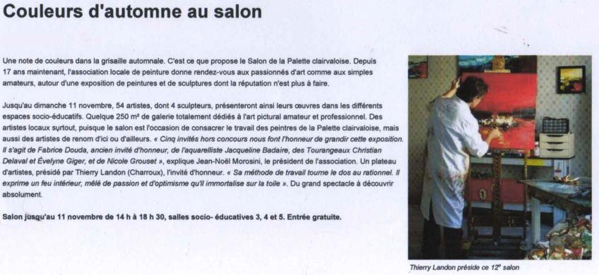 """Article """"La Nouvelle-République"""" du 08/11/12"""