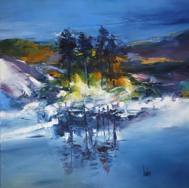 """""""L'îlot grand bleu"""" - 100x100 - vendue"""