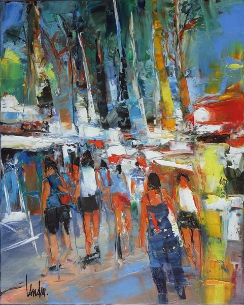 """""""A l'ombre des platanes"""" - 46x33"""