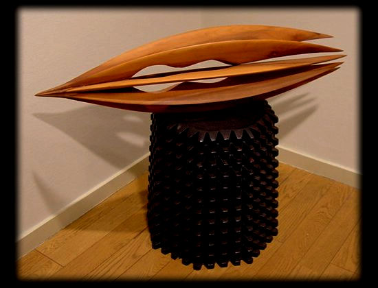 """Ship and Seed in Meditation-M1"" Wood [Loquat] 25×80×25cm"