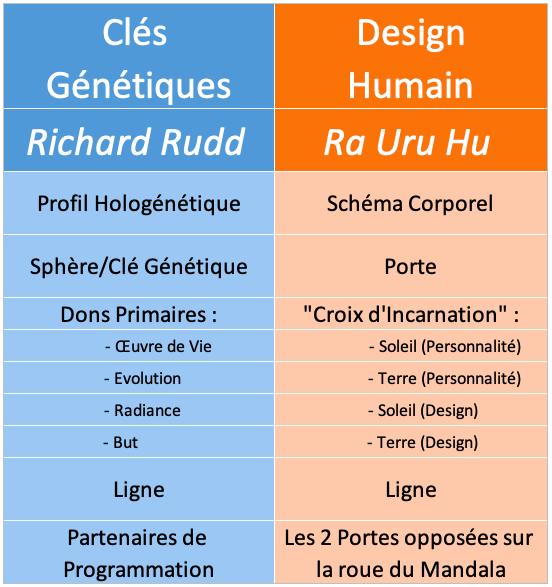 Equivalences des terminologies entre les Clés Génétiques et le Design Humain