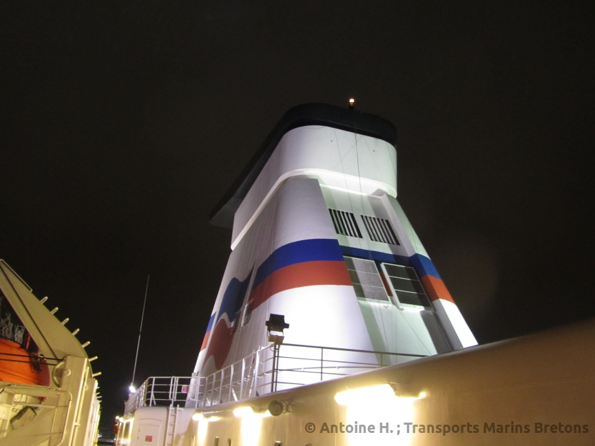 Bretagne's funnel, which was repainted a few weeks later