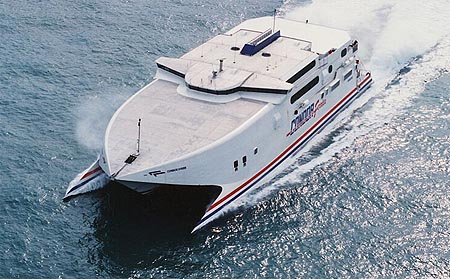Condor Vitesse at sea pictured from the air.