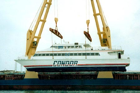 Condor 8 being liffted down. Picture Condor Ferries.