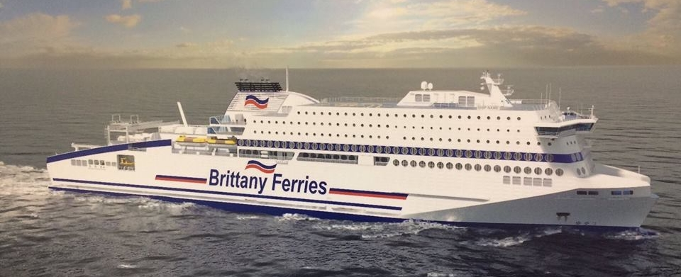 An artist impression of Brittany Ferries' new ship, which is to be christen M/V Honfleur in April 2019.