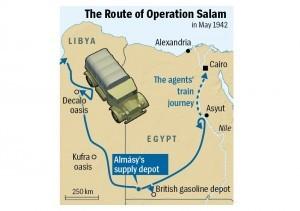 Il percorso di Almasy durante la seconda guerra mondiale per infiltrare due spie tedesche al Cairo