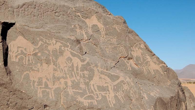 Algeria – Tassili de Tarit – Tin Eddi: a poca distanza dalle pitture di Abri Khattar troviamo queste fantastiche incisioni raffiguranti animali, scene di guerra e caccia.