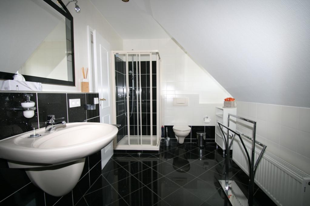 Das Marmorbad mit Dusche und Badewanne