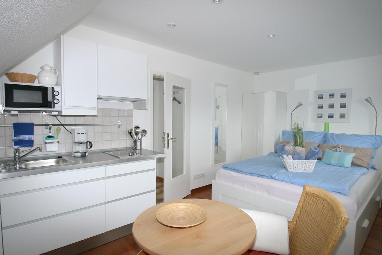 moderner Wohn-Schlafbereich mit Pantry Küche