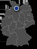 Grafik: Immobilienposition auf Deutschlandkarte: Papenstraße, Hamburg ca. 8.000 m2 BGF Fertigstellung: 2015, Hamburg / Copyright DEUTSCHE IMMOBILIEN Entwicklungs GmbH