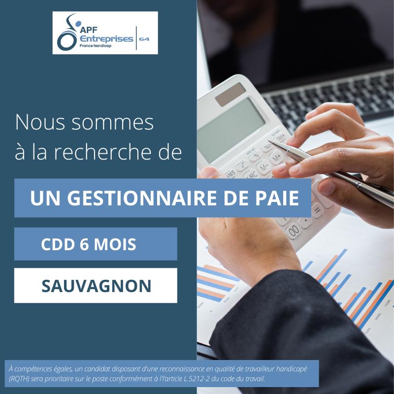 Offre d'emploi  Gestionnaire de paie- APF Entreprises 64
