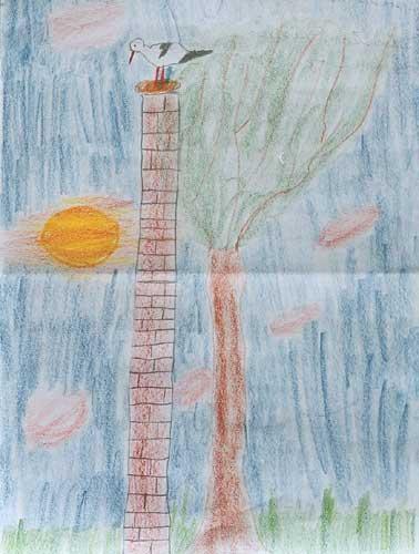 Sebastian Gleixner Spek´scher Schornstein im Abendrot mit Storch Buntstift auf Papier 30cm * 40cm