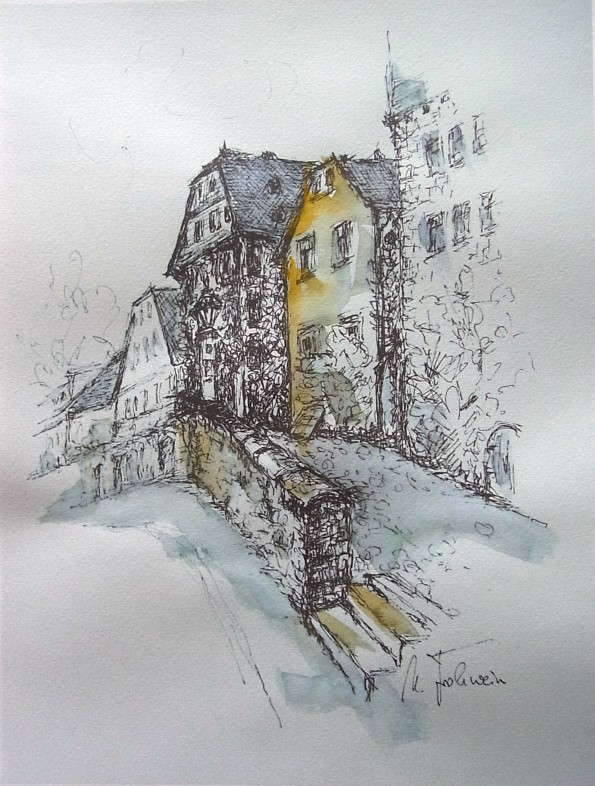 Marburg Barfüßerstraße, koloriert
