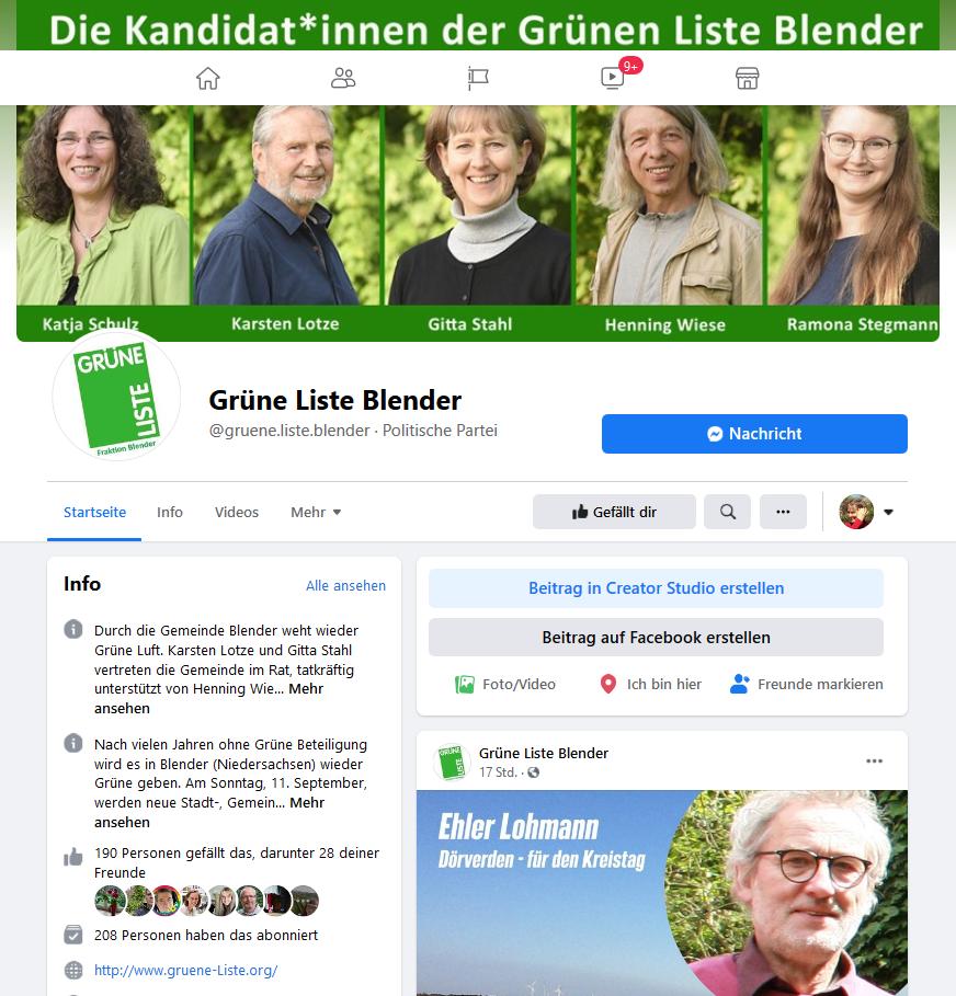 Grüne Liste Blender auf Facebook