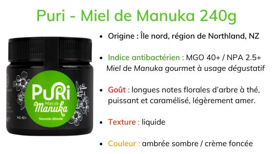 Puri - Miel de Manuka 240g description origine Northland