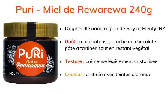 Puri - Miel de Rewarewa 240g description