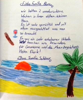 Gästebuch Eintrag Familie Schürer 2018