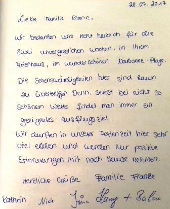 Gästebuch Eintrag Familie Franke 2017
