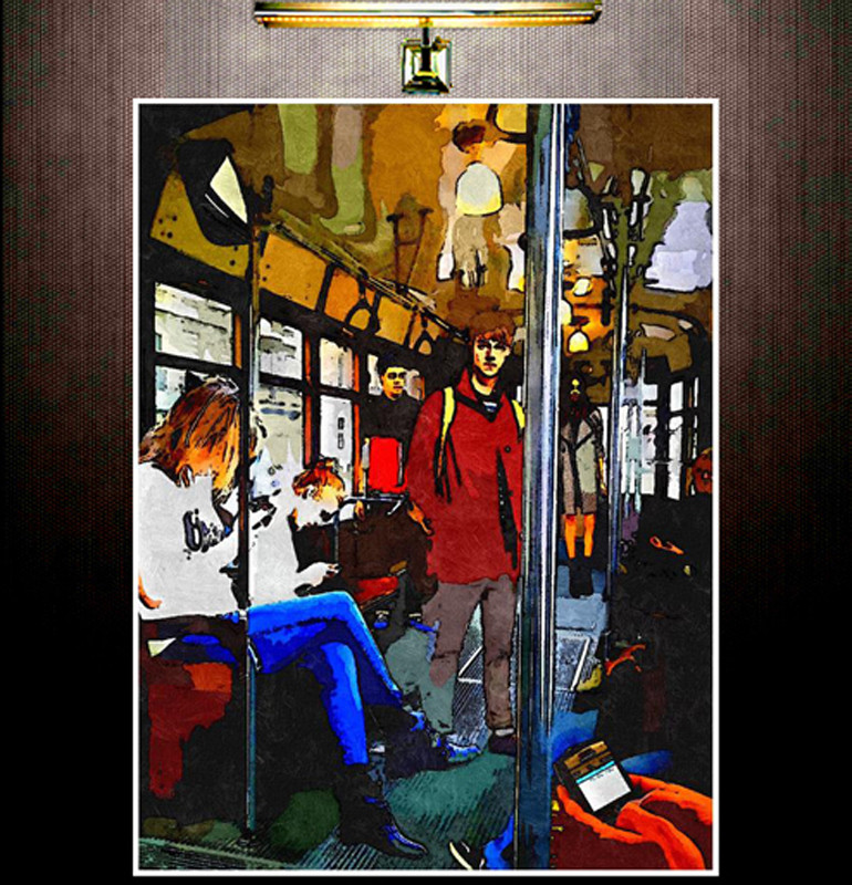 YOUTH IN AN OLD TRAM IN MILAN