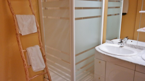 Bathroom with shower and double washbasin