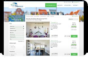 Grafik: Webscreen WWW.FERIEN-AN-DER-NORDSEE.DE / Unsere Ferienhäuser in Nordfriesland