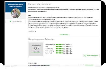 Grafik: Webscreen WWW.FERIEN-AN-DER-NORDSEE.DE / Bewertungen für Ferienhaus Hannes Huis