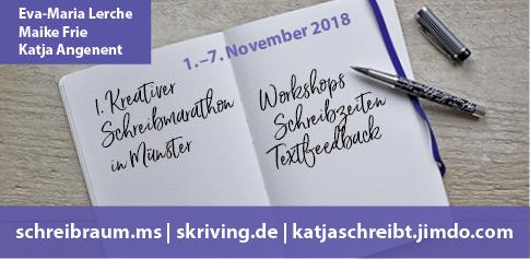 """Image Design. Anzeige """" kreativer Schreibmarathon"""" für Dr. Eva-Maria Lerche. Funkenflug Design Münster."""