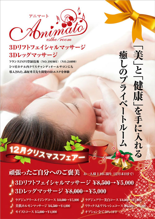 A4チラシ名古屋市昭和区桜山エステサロン12月クリスマスフェア