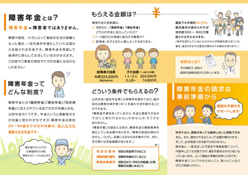 社会保険労務士事務所障害年金のご案内三つ折りパンフレットデザイン中