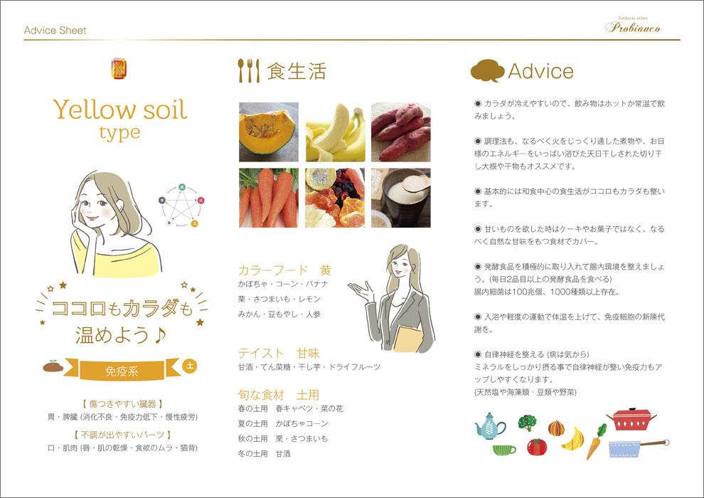エステサロン_プロビアンコ_陰陽五行説_アドバイスシート_Yellow soil_黄_土_免疫系