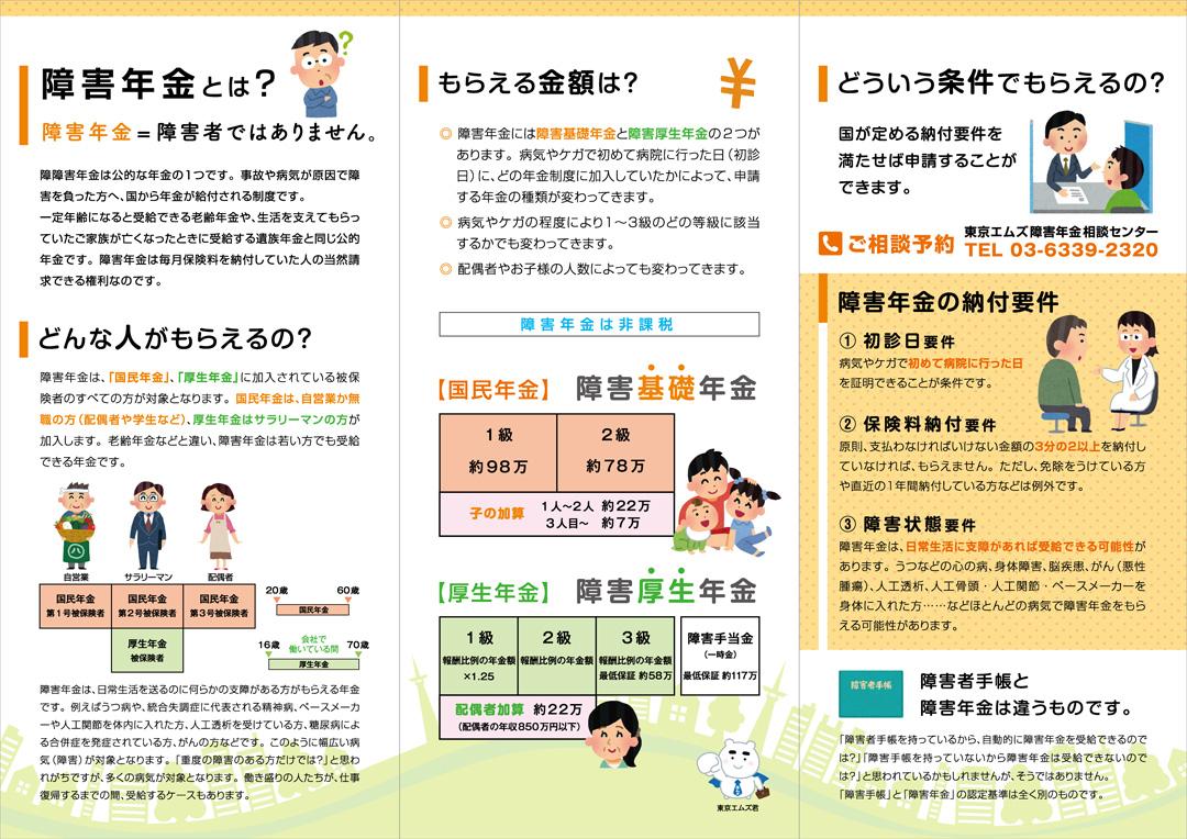 東京エムズ障害年金センター社会保険労務士事務所A4三つ折りパンフレットデザイン新宿中面