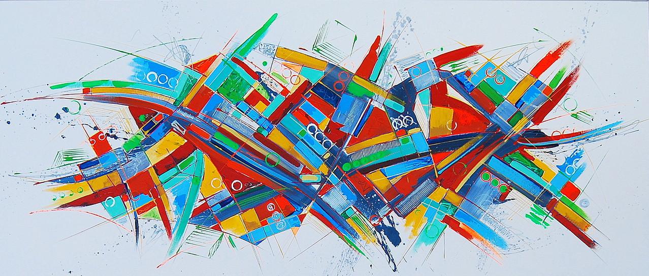140 x 60 cm Acryl auf Leinwand, Galeriekeilrahmen.