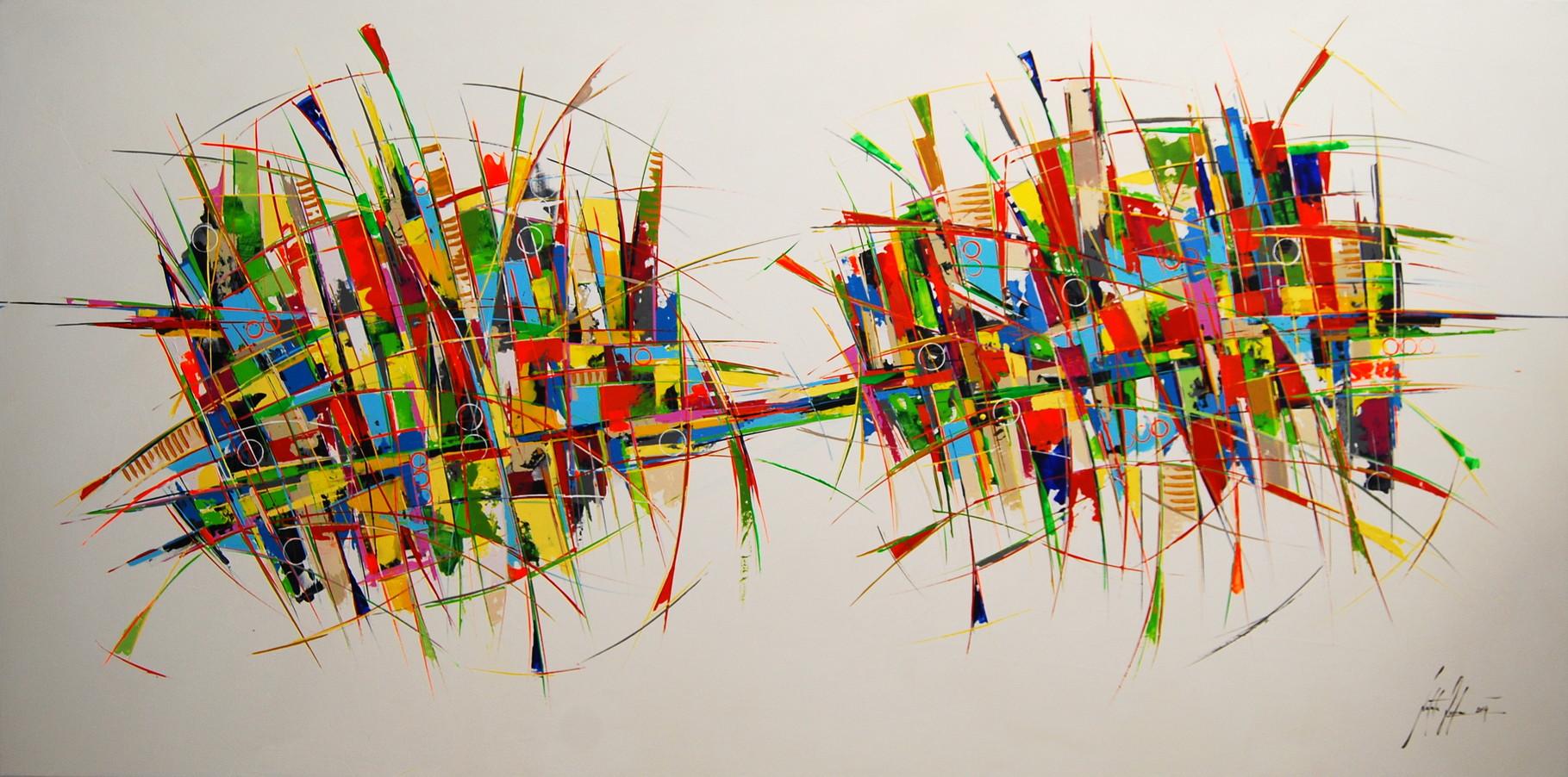 200 x100 cm Acryl auf Leinwand, Galeriekeilrahmen.